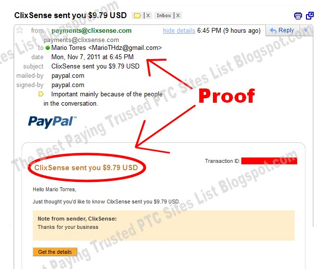 ClixSense - My First Pay Proof 11/8/2011  Gmail%2BPROOF%2B1