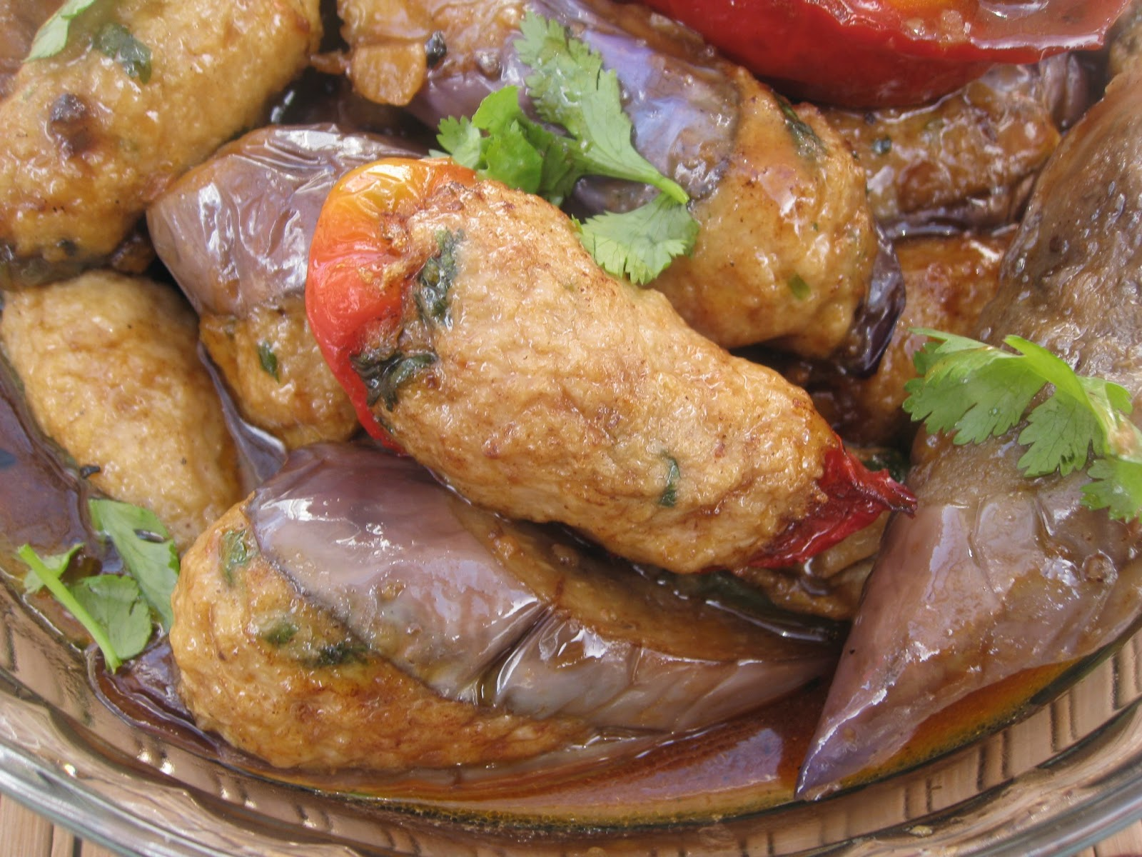 ... Stuffed Chicken in Japanese Eggplant and Sweet Pepper in Bean Paste