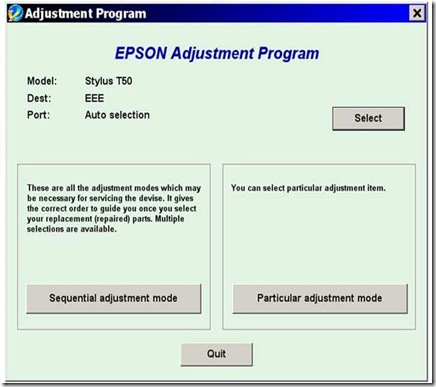 Reset Epson Adjustment Program