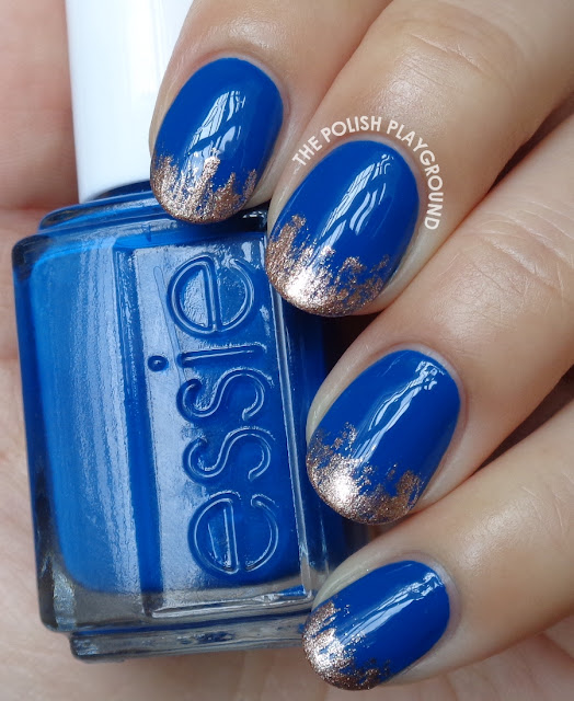 Royal Blue with Rose Gold Tips Nail Art