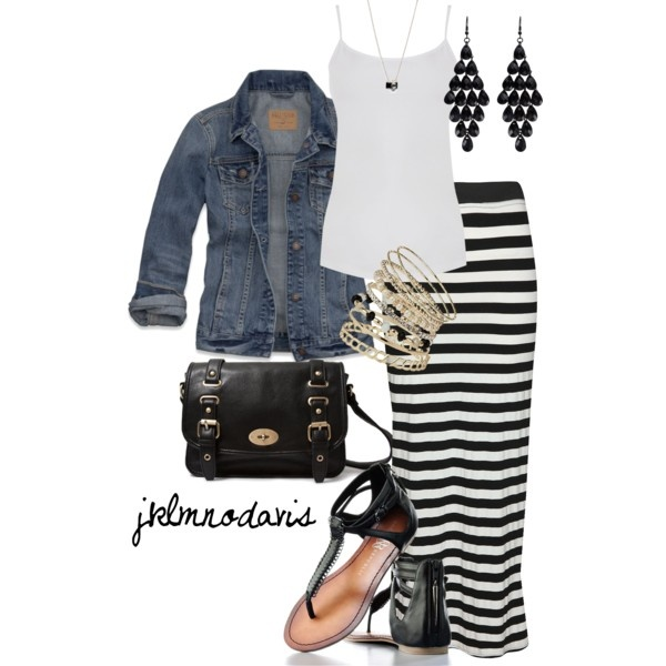 White blouse, jean jacket, lined skirt, black beads rings, hand bag and sandals