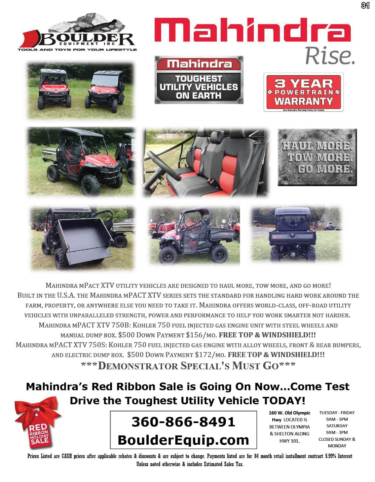 Boulder Equipment Has Mahindra UTVs On Sale!!