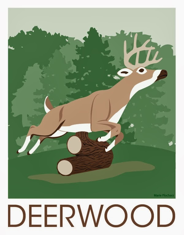 Giant Leaping Deer Deerwood Minnesota - MN Roadside Attraction Travel Poster
