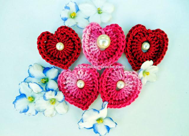 corações em croche com Edinir-Croche