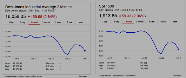 "1 month charts for DJI (left) and S&P 500 show a ""roller coaster ride"""