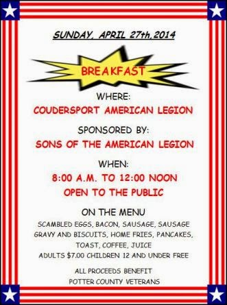 4-27 Breakfast At Coudersport Legion