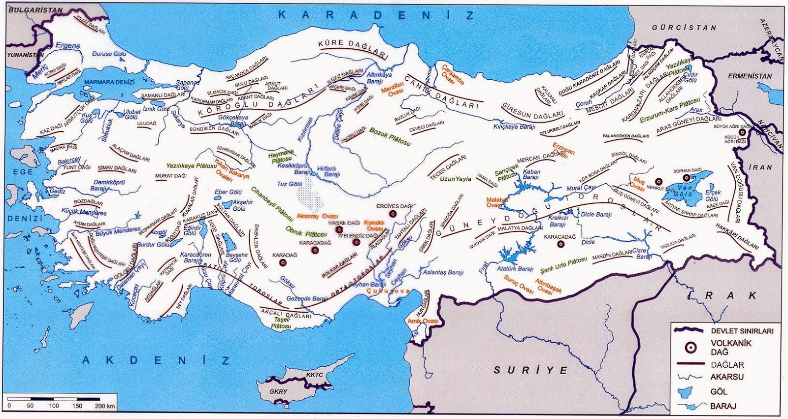 Türkiye Dağlar Akarsular ve Barajlar Haritası