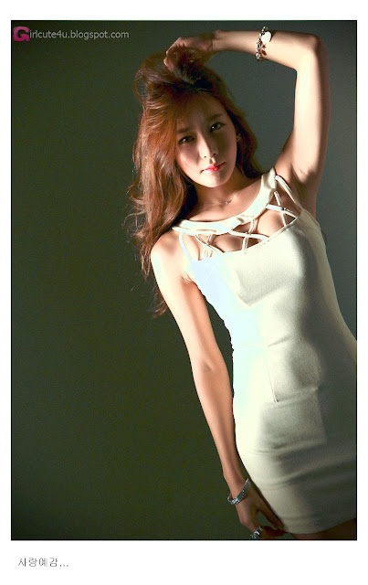5 Han Ji Eun in Cream Mini Dress-Very cute asian girl - girlcute4u.blogspot.com
