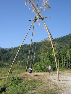 Dashain Pings in Pokhara, giant swings for children