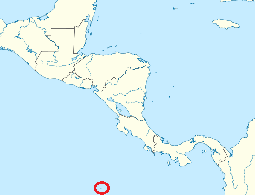Map of cocos island where the rosy lipped batfish can be found