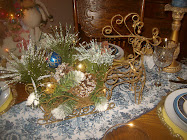 Merry Blue and Gold Christmas Setting