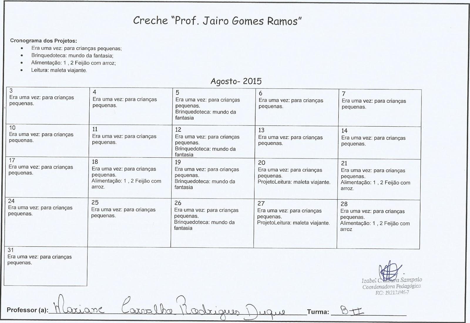 Excepcional Coordenação Pedagógica - Izabel C. M. Sampaio: CRONOGRAMA DOS  PI67