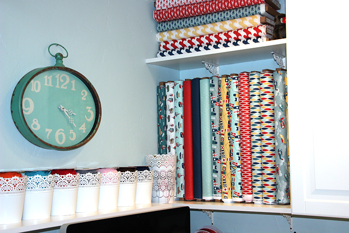 shelves for bolts of Quilt fabric storage Samantha Walker studio remodel doily cups storage
