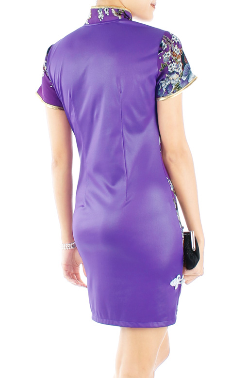 LUXE Oriental Spring Cheongsam with Sleeves in Amethyst Purple