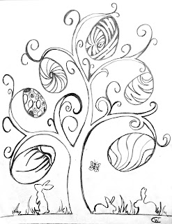 Life Sprinkled With Glitter Easter Egg Tree Coloring Page Free