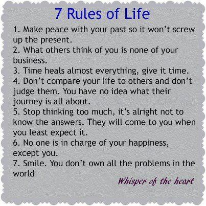 Rules Of Life Inspirational Quote