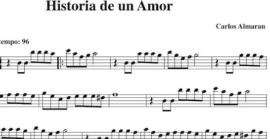 Historia de un Amor de Carlos Almarán Partituras en Clave de Sol, Fa en cuarta y Do en tercera línea