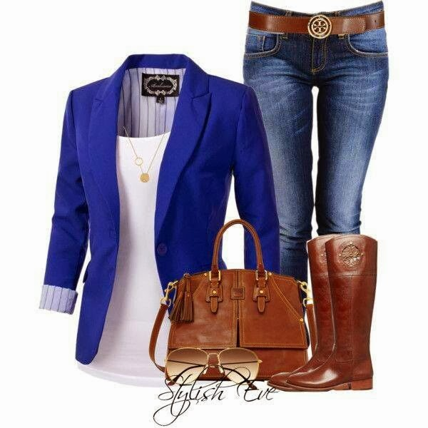 Amazing blue blazer, white blouse, jeans and brown long boots office attire for fall