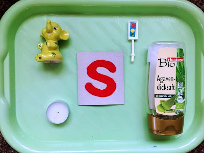 alphabet S montessori tray