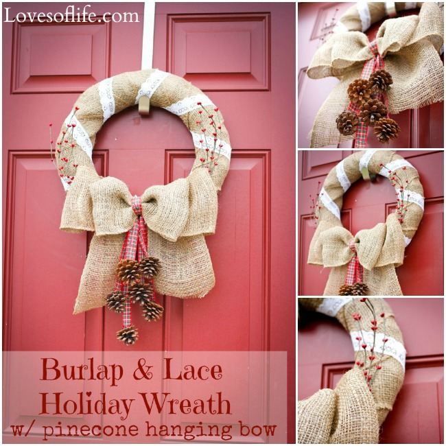 Www Fotoventasdigital Com Diy Burlap Wreath That Folding: Day 21: Burlap And Lace Holiday Wreath (with Pinecones
