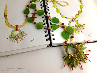 two design sketches for Sea Grass, freeform beaded necklace by Karen Williams