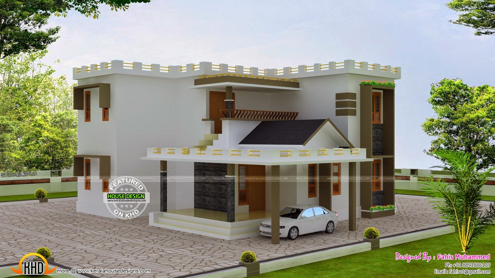 Decorative Flat Roof : Flat roof decorative home kerala design and floor plans