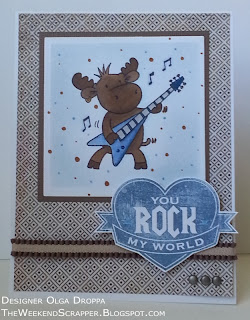 Handmade card using Riley and MFT stamps and Basic Grey Serendipity paper in brown and blue tones
