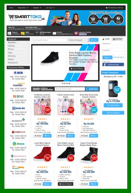 Template toko online cantik