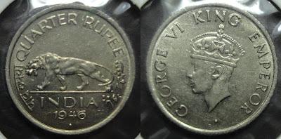 george vi 1/4 rupee 1946