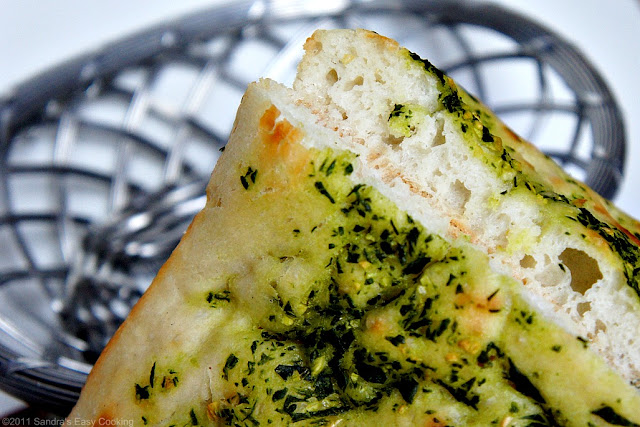 Focaccia with sea salt and homemade basil paste