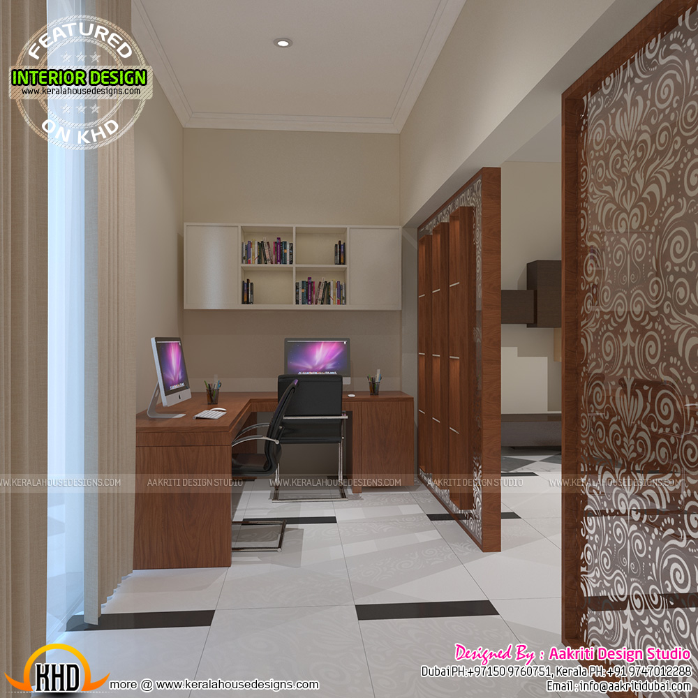 Master bedroom foyer study room kerala home design and for Foyer designs india