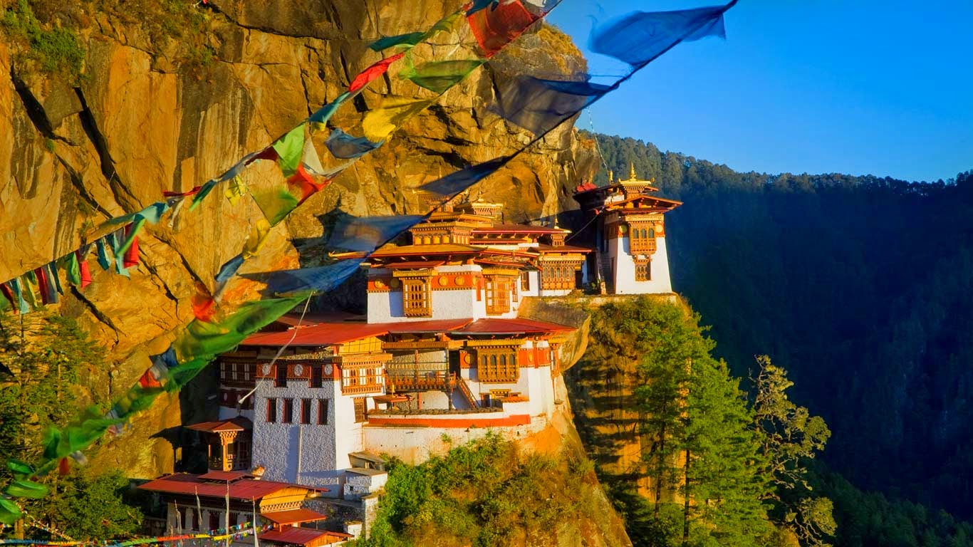 Paro Taktsang, a Buddhist monastery above the Paro Valley in Bhutan (© Peter Adams/Getty Images) 9