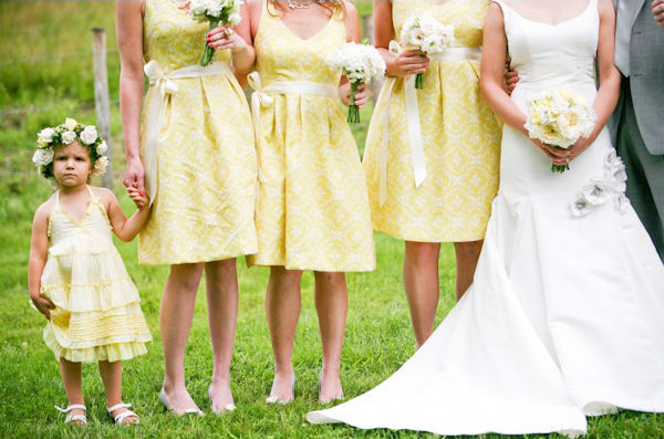 Yellow Patterned Bridesmaid Dresses 108