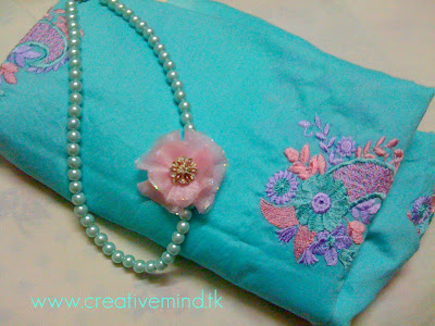 Handmade Organza Flower Pearl Necklace by Creative Mind