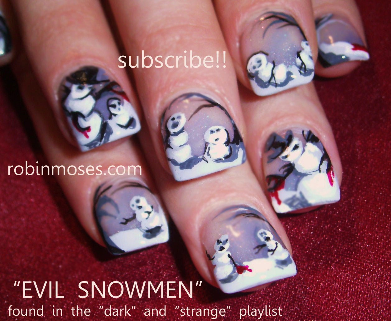 Evil Snowman Gothic Nails Emo Nails Gray And Black Nails Happy