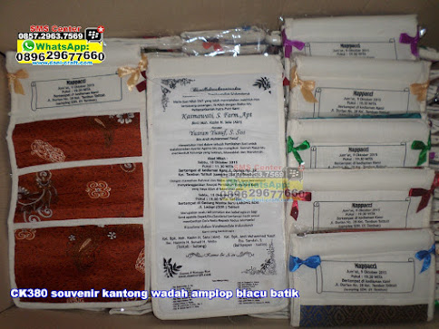 jual Souvenir Kantong Wadah Amplop Blacu Batik