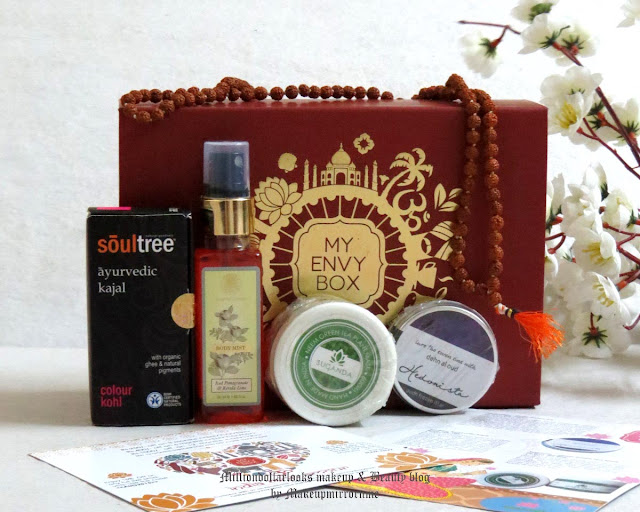 My Envy Box August 2015 Edition Unboxing, Review, Pictures & Price | Indian makeup and beauty blog, Indian beauty blogger, delhi blogger, Beauty box India, My envy box review, Best beauty box available in India, Indian beauty blogger, Monthly beauty box subscription, Soultree kajal, Forest essentials Iced Pomegrante and kerala lime body mist, Hedonista frozen itar, neem face mask,
