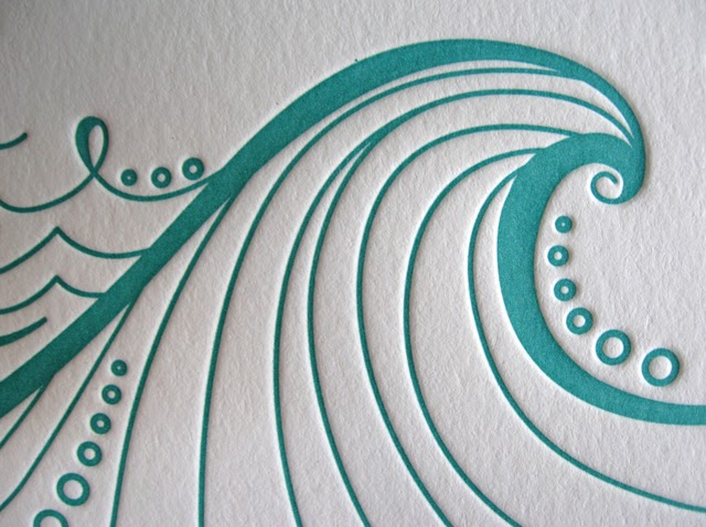 Illustration Letterpress Big Wave Wedding Letterpress