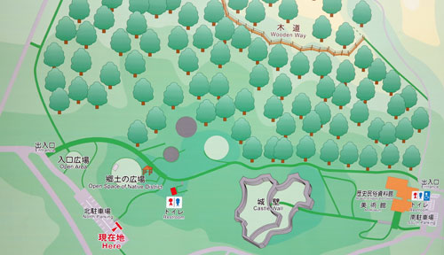Zakimi Castle map, Yomitan, Okinawa