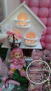 festa infantil casinha de bonecas marrom rosa ponta grossa