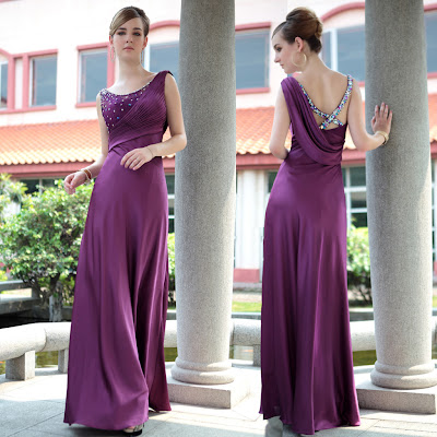 Purple Scoop Floor Length Dress