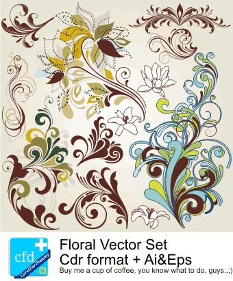 Floral Vector Set 2   Corel Draw Tutorial and Free Vectors
