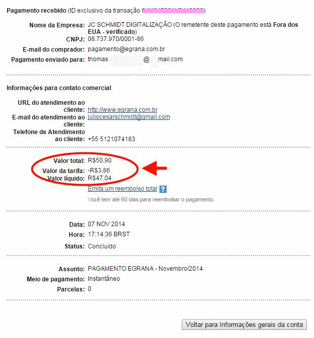 Pagamento do Egrana através do PayPal