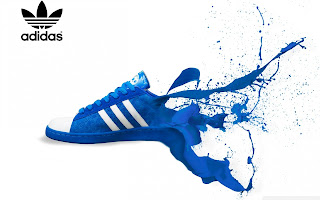 Blue Adidas Shoe Paint Splash Ads HD Wallpaper