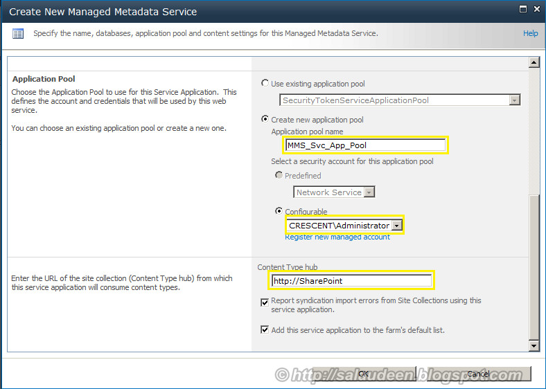 Configure sharepoint 2010 managed metadata service account, Content Type hub