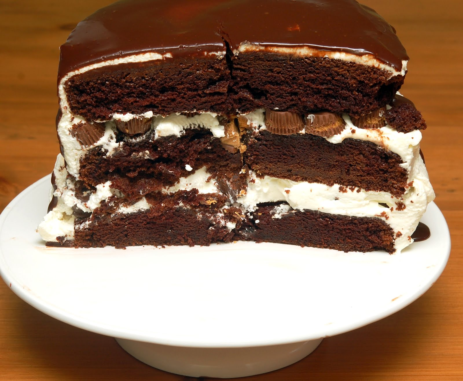 TRIPLE LAYER CHOCOLATE CAKE FILLED WITH OREO TRUFFLES & PEANUT ...
