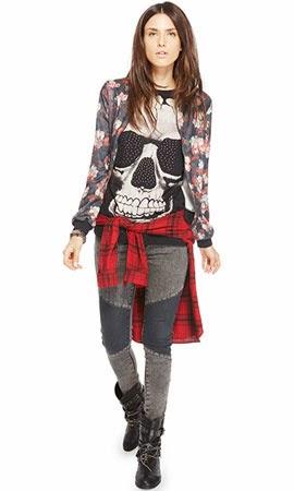 Riachuelo lookbook mix de tendências floral caveira xadrez jeans coleção inverno 2014 2015