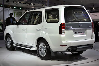 new tata safari storme at the expo rear view