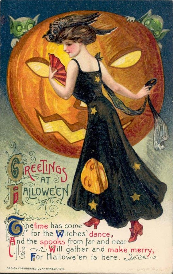 antique halloween postcard