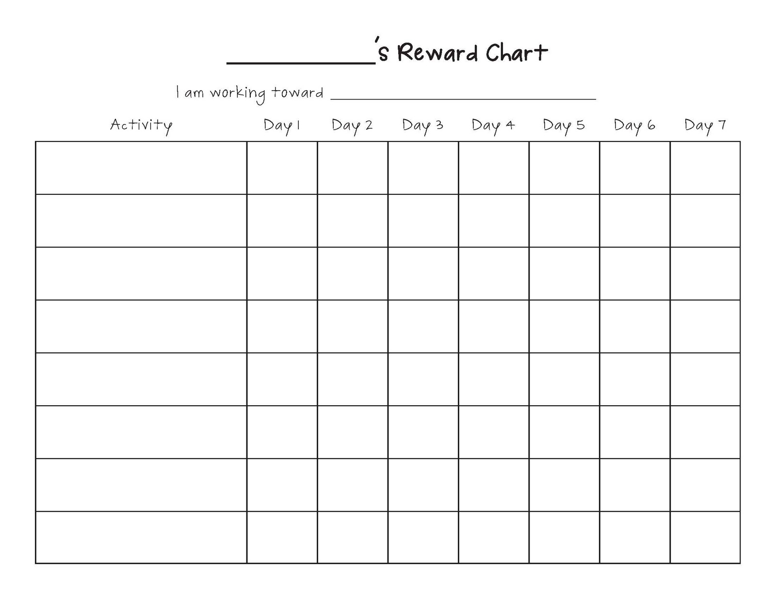 Doc513666 Free Printable Reward Charts for Teachers Printable – Free Reward Chart Templates